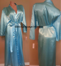 1x/2x/3x turquoise blue SATIN LONG ROBE womens LINGERIE PLUS SIZE 1x/2x/3x