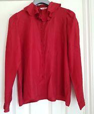vintage 80s mondi red  silk blouse shirt high neck ruffle neck medium