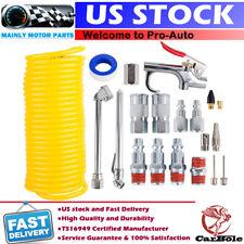"""20pc Compresor de aire Kit de accesorios herramienta 25Ft retroceso manguera pistola Boquillas Set 1/4"""" Tubo cónico Nacional"""