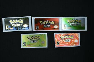 GBA Pokemon 3rd Gen Collection Replacement Label Decal foil Metalic Sticker
