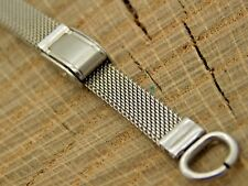 """Vintage Watch Band Ring End Stainless Sliding Clasp NOS Unused 5"""" -7 1/2"""" Long"""