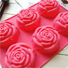 Silicone 3D Mould 6 Cavity Large Rose Flower Jelly DIY Candy Baking Mold Tools