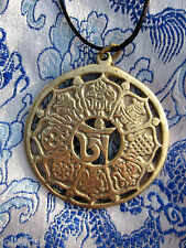 2 INCH TIBETAN BUDDHIST OM/8 AUSPICIOUS SYMBOLS BRASS PENDANT BLACK CORD NEPAL