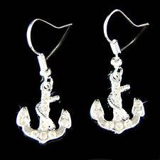 Beach Wedding Bridesmaid Earrings Cute w Swarovski Crystal Anchor Nautical Yacht