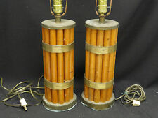 Pair of Mid Century Modern Paul Frankl Attrib Tropitan Bamboo w/ Brass Trim Lamp