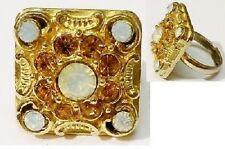 bague fantaisie bijou vintage carré relief travaillé cristaux couleur or * 5114