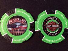 "Harley Golf Ball Marker Poker Chip (NEON Green) ""Twister City"" Wichita KS ERROR"