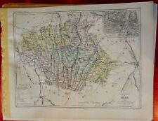 Old Map 1900 France Département Gers Auch Mirande Aignan Lombez Cologne Condon