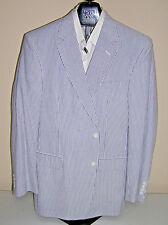 $395 New Jos A Bank stays Cool Seersucker Navy Stripe 2 button suit 38 L 32 W