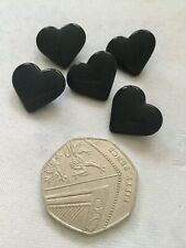 13mm wide 10 x BLACK Heart shape resin shank back buttons approx FB4C