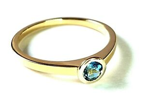 DAZLING  SECONDHAND 18ct YELLOW GOLD TOPAZ SOLITARE RING SIZE P