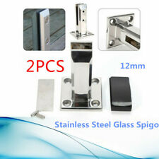 2PC Floor Stand Stairs Balcony Pool Glass Spigots Post Balustrade Railing Clamp