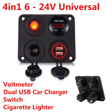 Car Truck RV LED Voltmeter Dual USB Charger Switch 12V Power Socket 4 Hole Panel