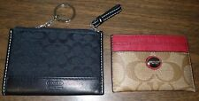 Coach Peyton Signature Red/Brown Card Case & Canvas Patent Logo Coin Pouch Key