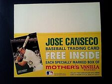 Jose Canseco, 1990 Mother's Cookies cardboard Counter Display Ad, Flat, EX