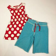 Mini Boden Girls Size 3 4 Outfit Set Red Polka Dot Top & Blue Shorts Summer