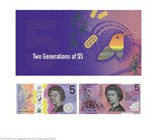 In Stock - RBA Official Folder $5 Two Generations Unc Pair - New and Old Polymer