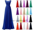 Long Lace Chiffon Formal Evening Ball Gown Party Prom Bridesmaid Dress Size 6-22