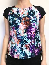 KOOKAI MULTI COLOURED DIGITAL PRINT CAP SLEEVE TUNIC TOP THICK STRETCH SZ 34 (6)
