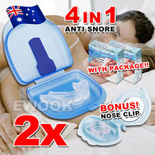 2X SET Anti Snore Stopper Mouth piece Guard Stop Snoring Silicone Tray Nose Clip