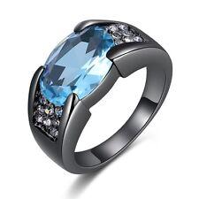 Jewelry Fashion Size 10 Halo Aquamarine Black 18K Gold Filled Mens Wedding Ring
