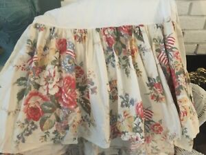 Ralph Lauren Queen Bed Skirt Rare Dylans Grove Vintage Floral Flags Made USA