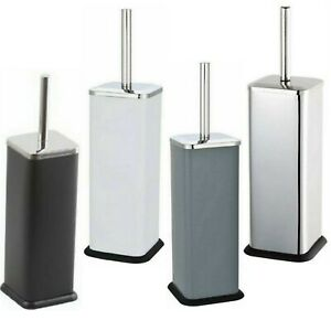 STAINLESS STEEL SQUARE TOILET BRUSH & HOLDER SET FREE STAND BATHROOM LOO BRUSH