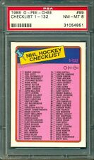 1988 OPC O PEE CHEE HOCKEY #99 CHECKLIST UNMARKED 1-132 Graded PSA 8 NM-MINT