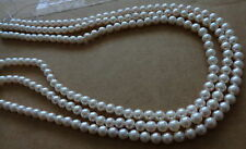 BULK OF 3  natural  round   pearl 6.5mm white 16* strand
