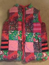 Lilly Pulitzer Girls Puffer Reversible Vest Pink Green 6 7
