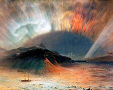 Northern Lights Aurora Borealis North Pole Painting Real Canvas Fine Art Print