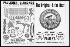 1899 Antique Print - ADVERTISING Players Navy Cut Faulkner Diamonds  (102)