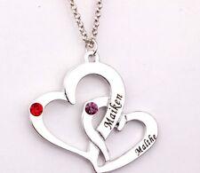 Halskette mit Gravur Infinity Doppel-Herz Partnerkette Personalisiert Name