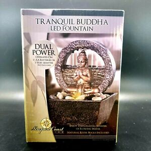 Tranquil Buddha LED Water Fountain Dual Power, Newport Coast, New in Box