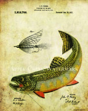 Fly Fishing Patent Poster Art Print Vintage Lures Brook Trout Fish Pole  PAT431