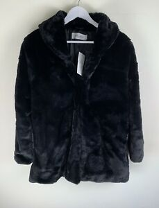 STOLEN HEART Faux Fur Jacket Coat BLACK MEDIUM RRP£32