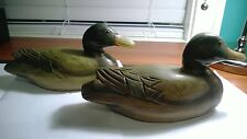 Pair Vintage Hand Painted Wooden Duck Decoy Glass Eyes