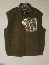 DRAKE Waterfowl Systems Windproof Magnattach Brown Fleece hunting Vest Men Sz L