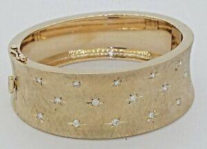 MS designer vintage heavy 14K gold 1.19CTW VS diamond florentine bangle bracelet