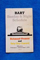 Bart Sunday & Night Schedule - 2/1/79 to 6/1/79 - San Francisco - Oakland