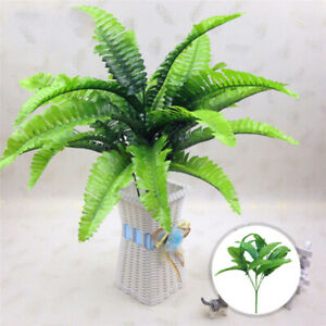 14 Artificial Leaves Flowers Wedding Home Persian Fern 7 Fork Fake Plants Decors