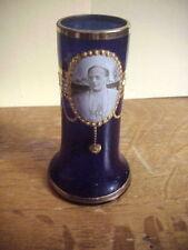 POPE PIUS XI Cameo Photo COBALT ART GLASS VASE Austria 1920s