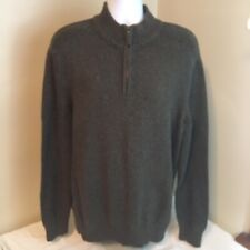 Eddie Bauer Mens Sweater Green 100% Cotton XLT Tall 1/4 Zip Free Shipping!