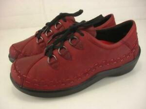 Women's 9 9.5 40 EW Extra Wide Ziera Allsorts Red Leather Oxfords Shoes Comfort