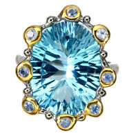 Handmade Oval Concave Sky Blue Topaz 11.75ct Sapphire 925 Sterling Silver Ring 8