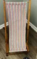 Antique Wood & Canvas Adjustable Childs Beach/Lounge Chair Mid Century, Vintage