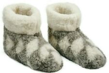 MEN'S 100% CHARCOAL  SHEEP WOOL BOOTS HOUSE WARM SLIPPERS  SHEEPSKIN SUEDE SOLE