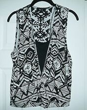NEW BCX STYLE BLACK & WHITE SLEEVELESS PRINT W/ LACE INSERT TOP SIZE XL