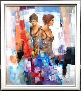 """MADJID RAHNAVARDKAR """"2 Frauen am Flügel"""", Format 80x70 cm inkl. Rahmen"""