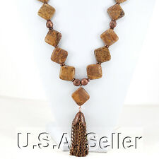 Natural Fossil Coral Beads & Copper Chain With Tassel Pendant Necklace 26""